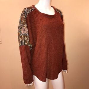 Maurices Wide Ribbed Top Print Panel Rust Brown